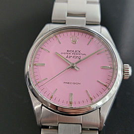Mens Rolex Oyster Precision 1002 Air King 34mm Pink Dial Automatic 1970s RA172
