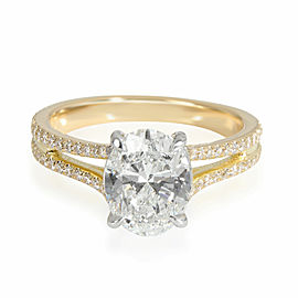 Oval Diamond Engagement Ring in 18K White Gold GIA F SI1 1.94 CTW