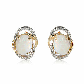 Effy Opal Diamond Stud Earring in 14K Yellow Gold 0.25 CTW