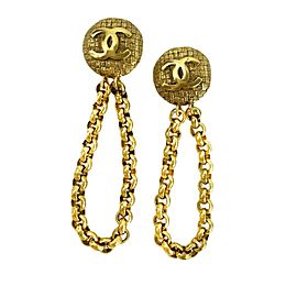Chanel - Excellent - Vintage CC Logo Drop Chain - Gold Tone - Earrings - Jewelry