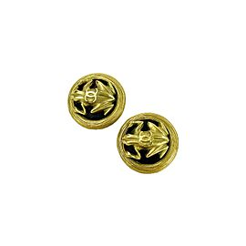 Chanel - Very Good - Round CC Logo Frog - Gold Tone and Black - Clip On Earrings