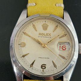 Mens Rolex Oysterdate Precision Ref 6494 34mm Hand-Wind 1950s Vintage RA191