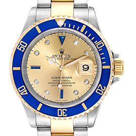 Rolex Submariner Steel Gold Diamond Sapphire Serti Dial Mens Watch 16613