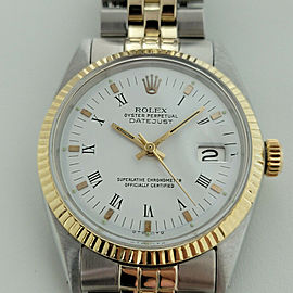 Mens Rolex Oyster Datejust 1600 36mm 14k SS Automatic 1960s Vintage Swiss RA169