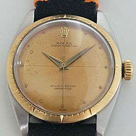Mens Rolex Oyster Perpetual 6592 35mm 14k SS Automatic 1950s Vintage RJC118