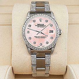 Rolex Datejust 31mm 3.5ct Diamond Bezel/Lugs/Bracelet/Royal Pink MOP Steel Watch