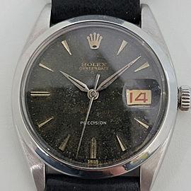 Mens Rolex Oysterdate Precision Ref 6494 34mm Hand-Wind 1950s Vintage RA194