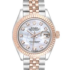 Rolex Datejust Steel Rose Gold MOP Diamond Ladies Watch 279171 Unworn