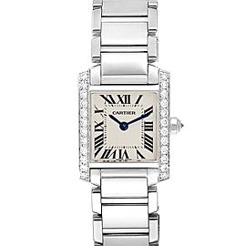 Cartier Tank Francaise 18K White Gold Diamond Ladies Watch WE1002S3