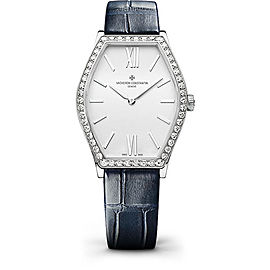 Vacheron Constantin Malte 25530000G-9741 18K White Gold & Leather with Silver Dial 34.4mm Womens Watch