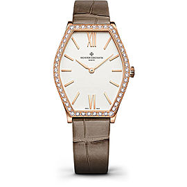 Vacheron Constantin Malte 25530/000R-9742 18K Rose Gold & Leather with Silver Dial 28.4mm Womens Watch