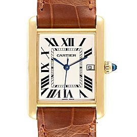 Cartier Tank Louis Yellow Gold White Strap Mens Watch W1529756