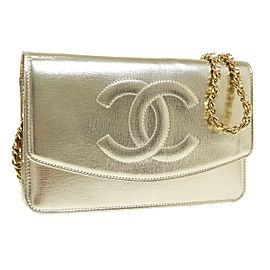 Chanel CC Chain Shoulder Wallet Bag Purse Gold Leather Vintage