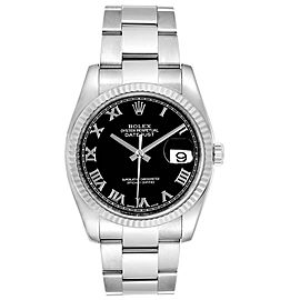 Rolex Datejust Steel 18K White Gold Black Dial Mens Watch 116234