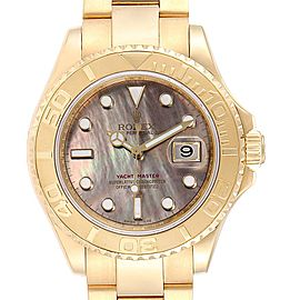 Rolex Yachtmaster Yellow Gold Mother of Pearl Mens Watch 16628 Box Card