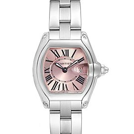 Cartier Roadster Pink Dial and Strap Steel Ladies Watch W62017V3