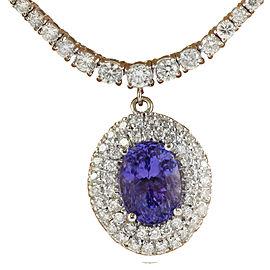 12.11 Carat Tanzanite 18K Gold Diamond Necklace