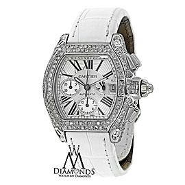 Cartier Roadster XL Chronograph Stainless Steel Diamond Watch white Dial W62020X6