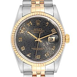 Rolex Datejust Steel Yellow Gold Grey Dial Mens Watch 16233
