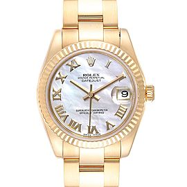 Rolex President Midsize Yellow Mother of Pearl Gold Ladies Watch 178278
