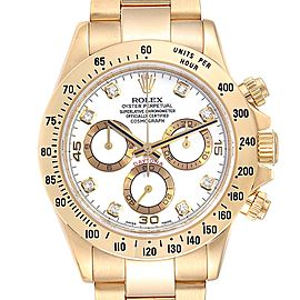 Rolex Daytona Yellow Gold White Diamond Dial Mens Watch 116528 Box Papers