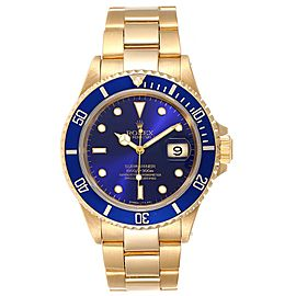 Rolex Submariner Yellow Gold Purple Dial 40mm Mens Watch 16618