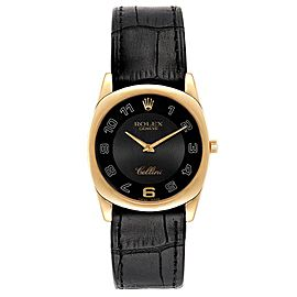 Rolex Cellini Danaos Yellow Gold Black Dial Mens Watch 4233