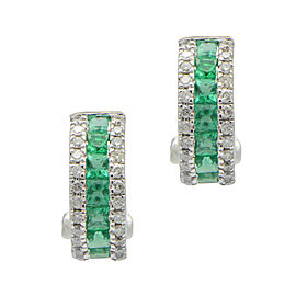 14k White Gold Channel Set Emerald and Diamond Pave Huge Hoop