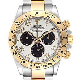 Rolex Daytona Panda Dial Steel Yellow Gold Mens Watch 116523 Box Card