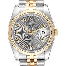 Rolex Datejust 36 Steel Yellow Gold Sunbeam Dial Mens Watch 116233