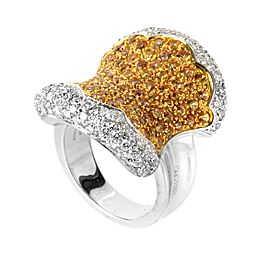 Oro Trend 18K White Gold Yellow Sapphire and Diamond Ring Size 7