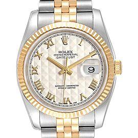 Rolex Datejust Steel Yellow Gold Pyramid Roman Dial Mens Watch 116233