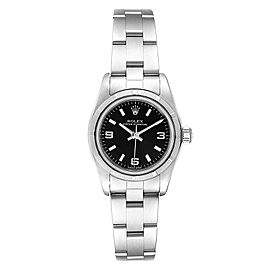 Rolex Oyster Perpetual NonDate Black Dial Ladies Watch 76030