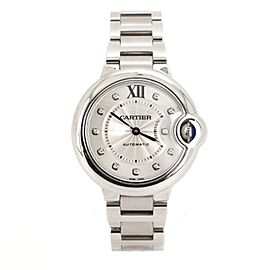 Cartier Ballon Bleu de Cartier Automatic Watch Stainless Steel with Diamond Markers 33