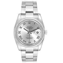 Rolex Datejust Steel 18K White Gold Rhodium Dial Mens Watch 116234