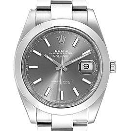Rolex Datejust 41 Grey Dial Oyster Bracelet Steel Mens Watch 126300 Box