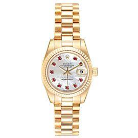 Rolex President Datejust Yellow Gold MOP Rubies Ladies Watch 179178