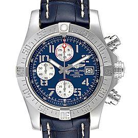 Breitling Aeromarine Super Avenger Blue Dial Strap Mens Watch A13381