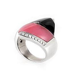 Bibigi 18K White Gold Pink Agate and Onyx Ring Size 7.25