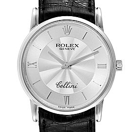 Rolex Cellini Classic White Gold Decorated Silver Dial Mens Watch 5116
