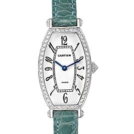 Cartier Tonneau White Gold Green Strap Diamond Ladies Watch WE400131