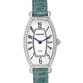 Cartier Tonneau White Gold Green Strap Diamond Ladies Watch WE400131