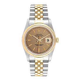 Rolex Datejust HoundsTooth Dial Steel Yellow Gold Mens Watch 16233