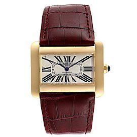 Cartier Tank Divan Large Silver Dial Yellow Gold Ladies Watch W6300856