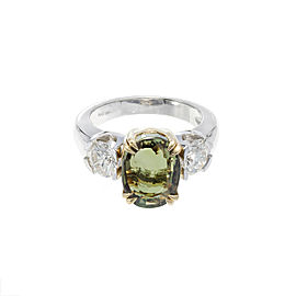 Platinum with 5.40ct Alexandrite and 1.31ct Diamond Ring Size 6.5