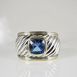 David Yurman Sterling Silver 18K Yellow Gold Blue Topaz Albion Wide Carved Cable Cuff