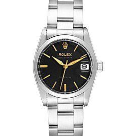 Rolex OysterDate Precision Silver Dial Midsize Steel Vintage Watch 6466