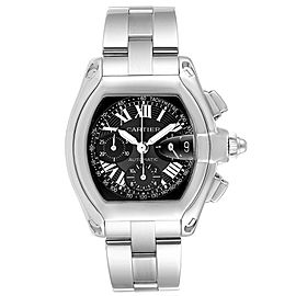 Cartier Roadster Chronograph Black Dial Mens Steel Watch W62007X6