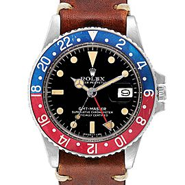 Rolex GMT Master Vintage Red and Blue Pepsi Bezel Mens Watch 1675 Papers