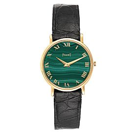 Piaget Yellow Gold Malachite Dial Vintage Ladies Watch 9015